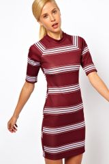 Asos Bodyconscious Dress in Stripe Print - Lyst