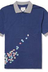 Band Of Outsiders Printed Cottonpique Polo Shirt - Lyst