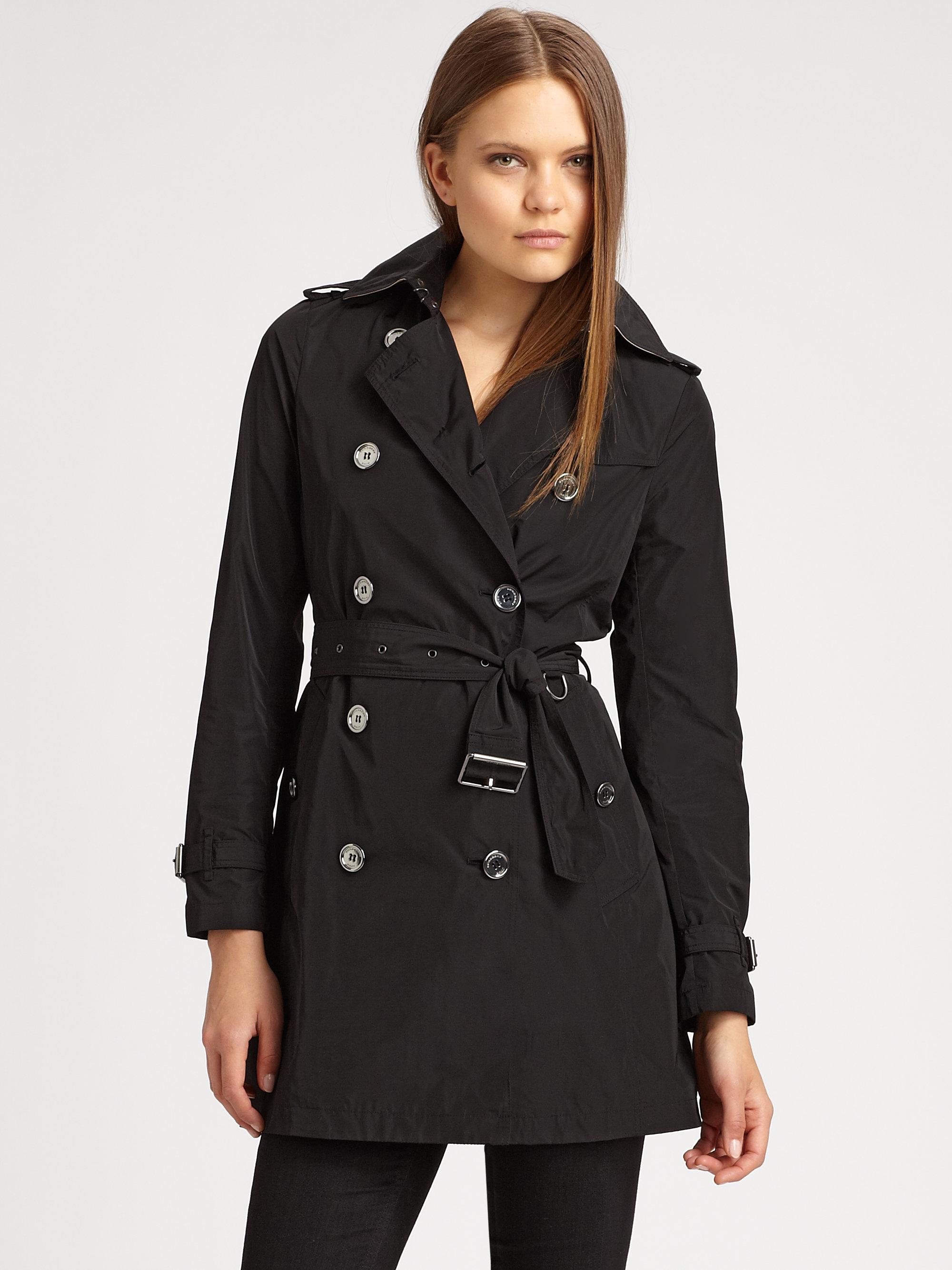 lyst burberry brit buckingham poplin trenchcoat in black. Black Bedroom Furniture Sets. Home Design Ideas