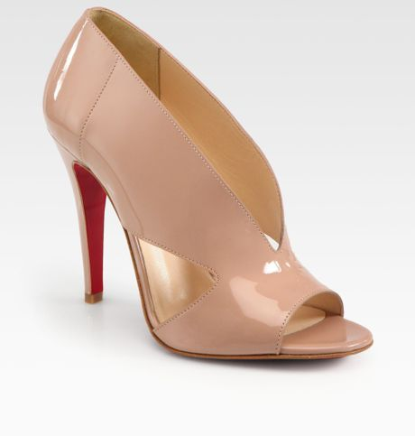 Christian Louboutin Creve Couer Patent Leather Sandals in Beige (nude)