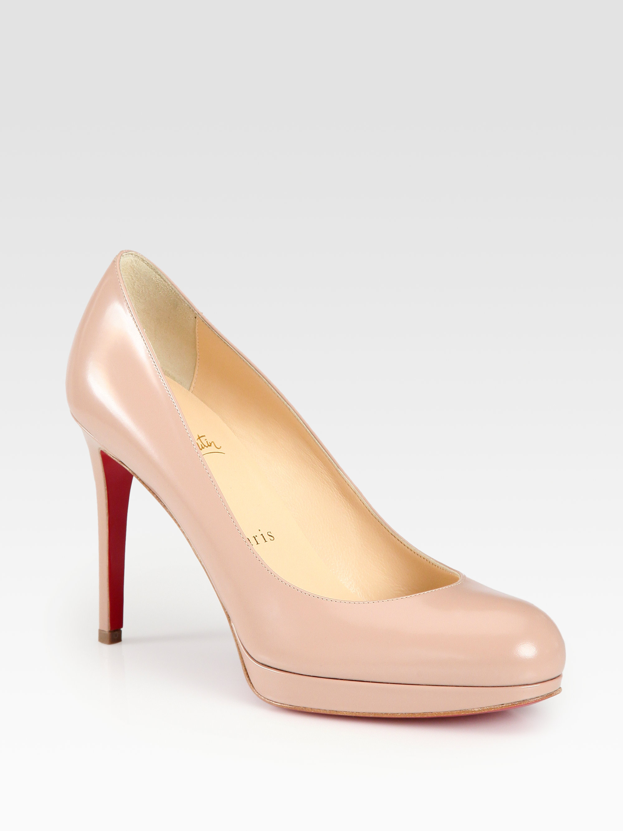 white spiked louboutin pumps - christian louboutin round-toe Simple pumps Bronze metallic leather ...