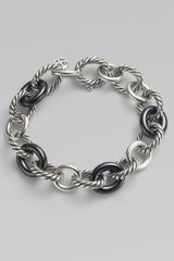 David Yurman Black Ceramic Sterling Silver Large Oval Link Bracelet - Lyst