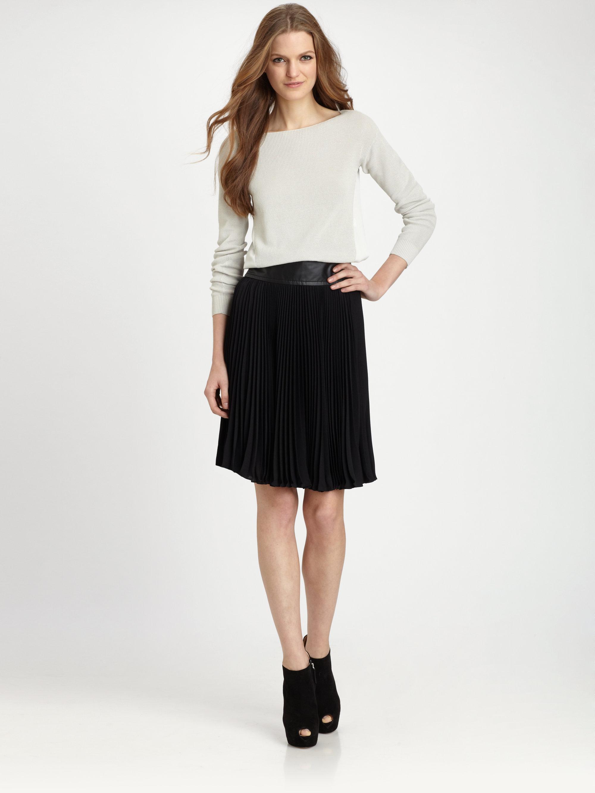 diane furstenberg panyin pleated skirt in black lyst