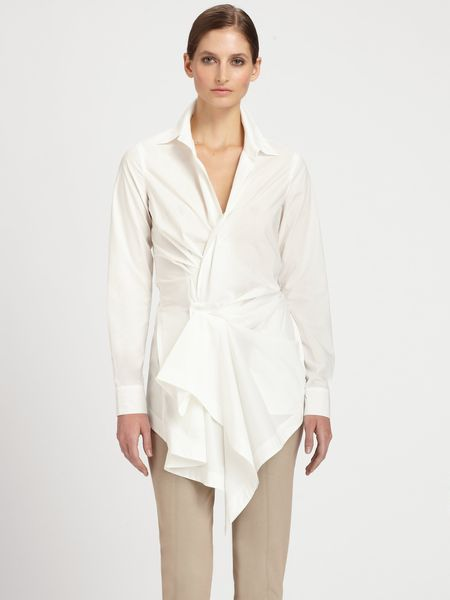 Donna Karan New York Paper Cotton Draped Tunic in White - Lyst