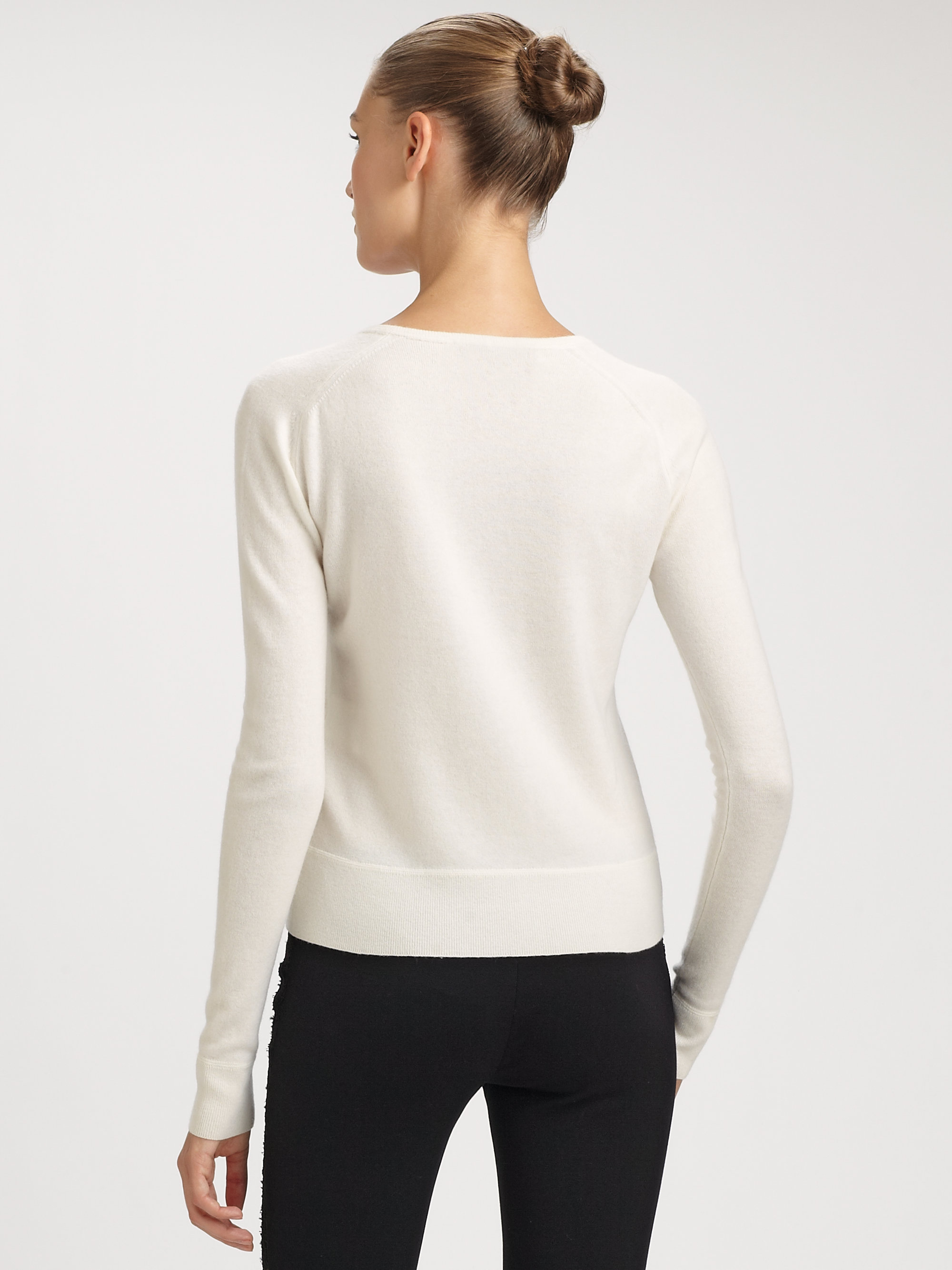 Emilio pucci V-neck Cashmere Sweater in White | Lyst