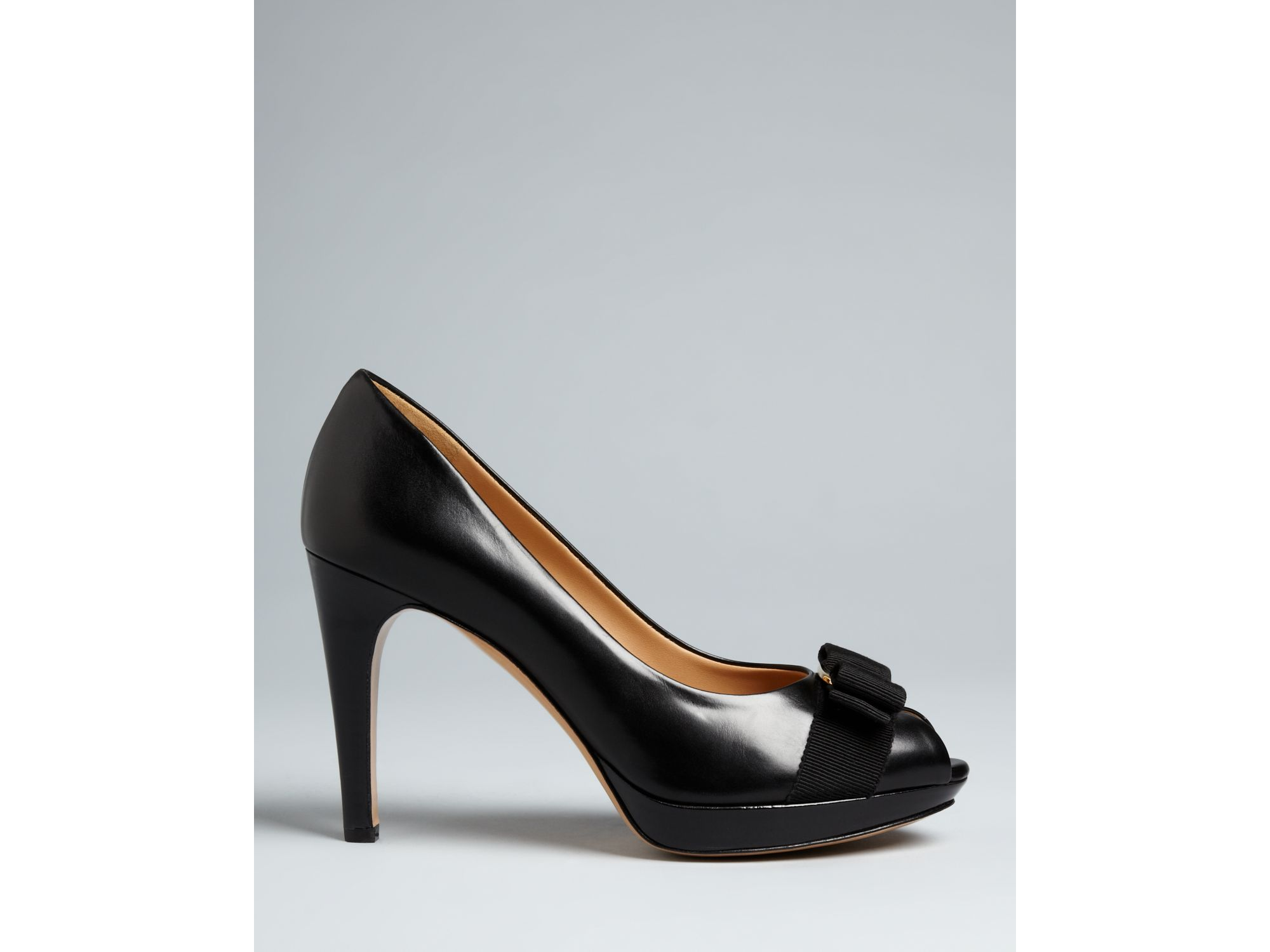 d10926fce852 Lyst - Ferragamo Pumps Talia High Heel Peep Toe Platform in Black