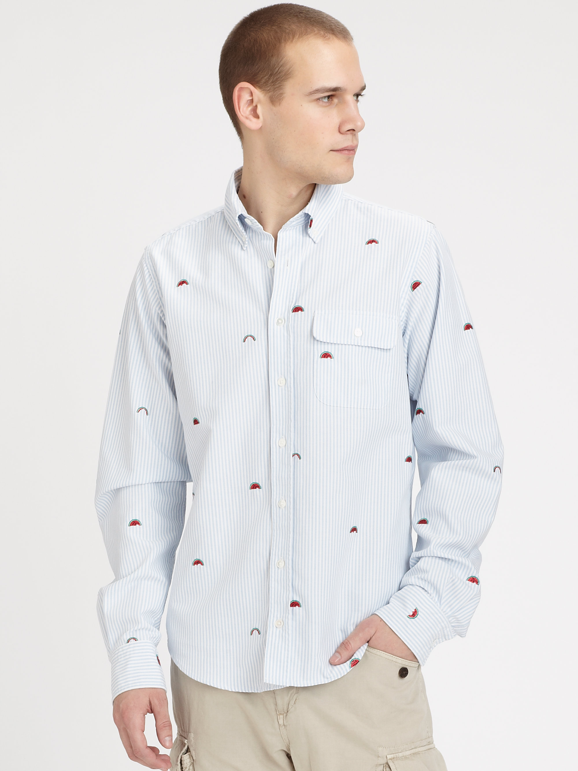 ... Slim vintage oxford shirt with embroidered boats