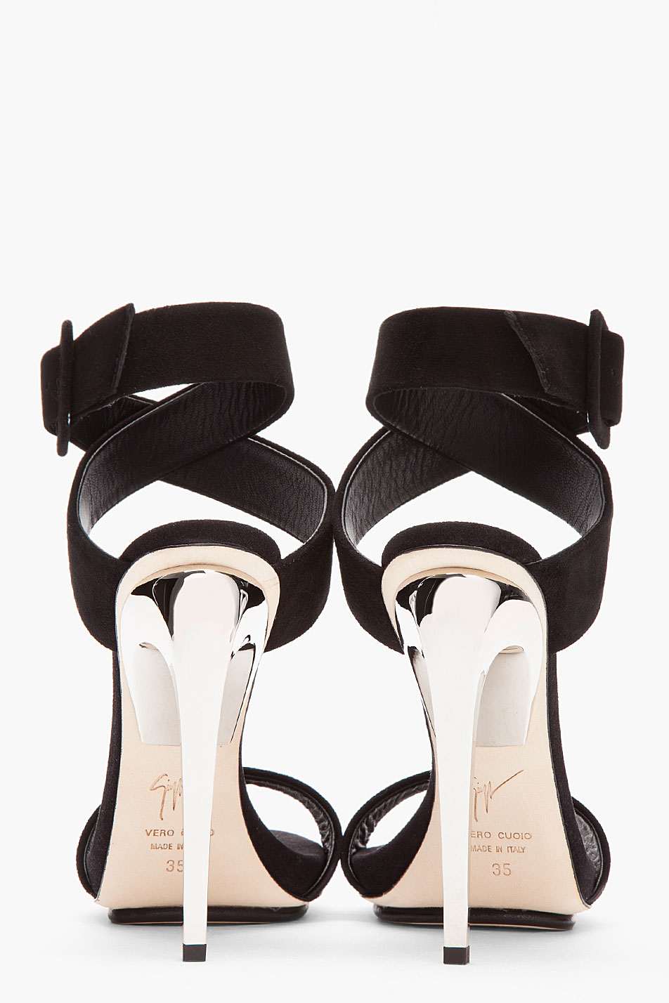 f03068e443f45 Giuseppe Zanotti Black Suede and Silver Alien 115 Heels in Black - Lyst