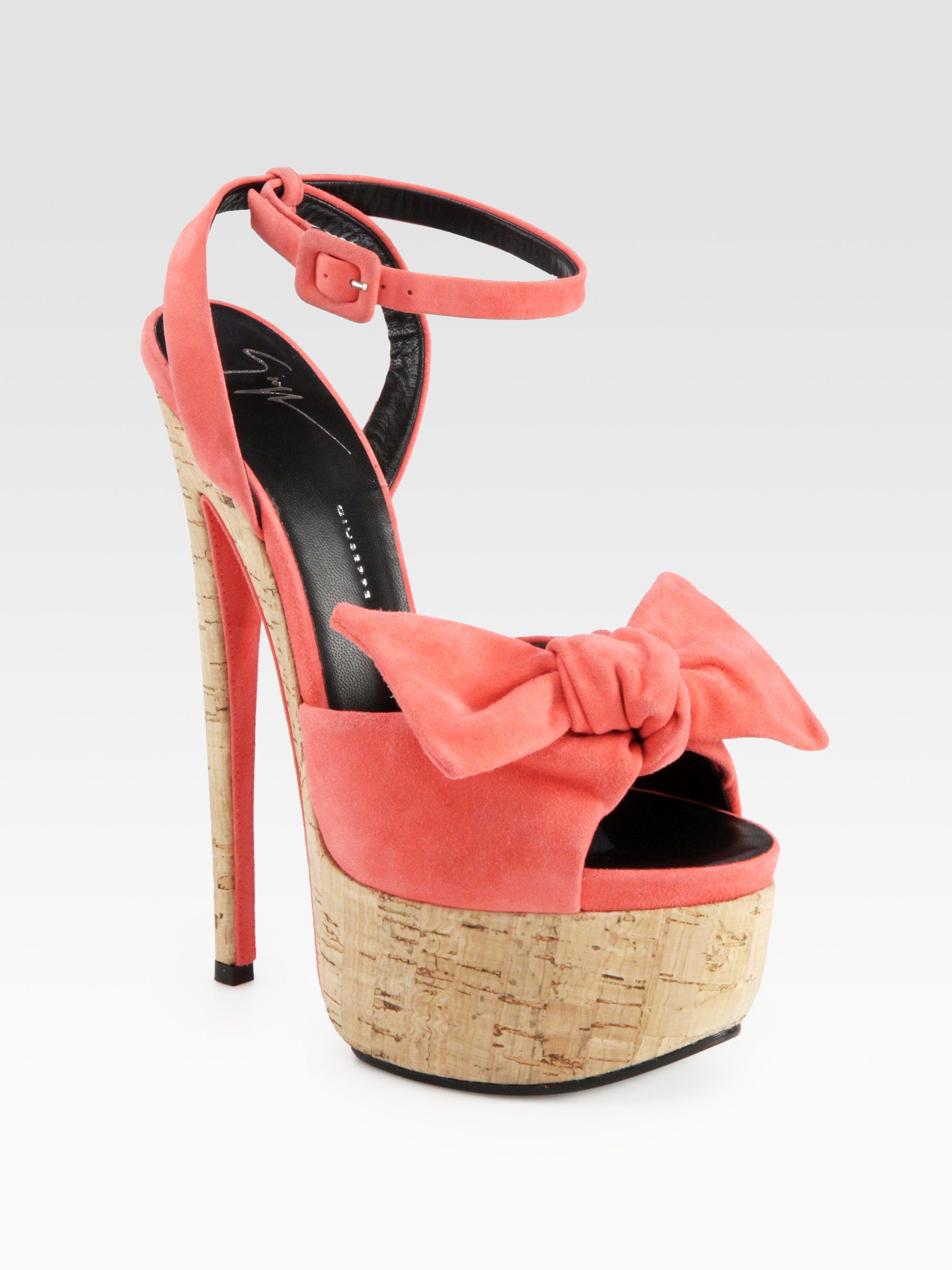 Lyst Giuseppe Zanotti Suede Bow Cork Platform Sandals