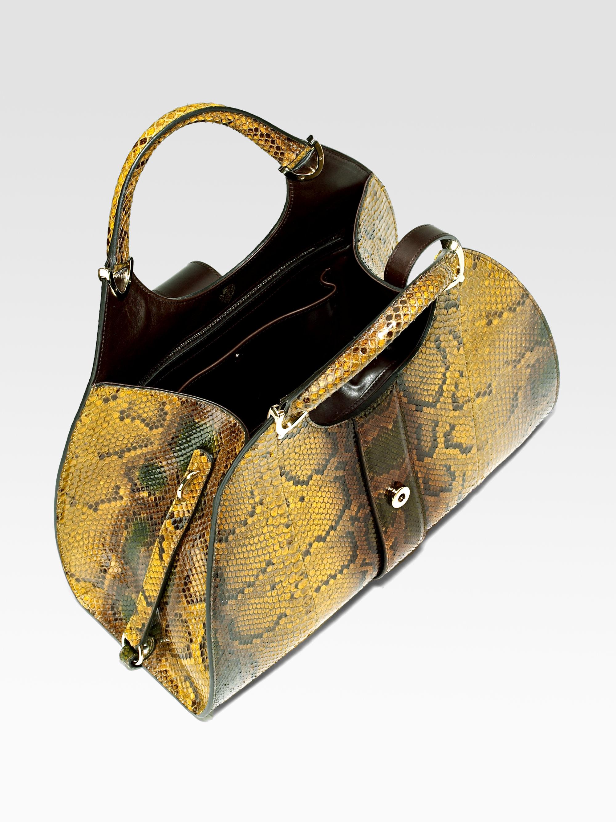 3bb3bca3e7f Lyst - Gucci Python Stirrup Medium Top Handle Bag in Metallic