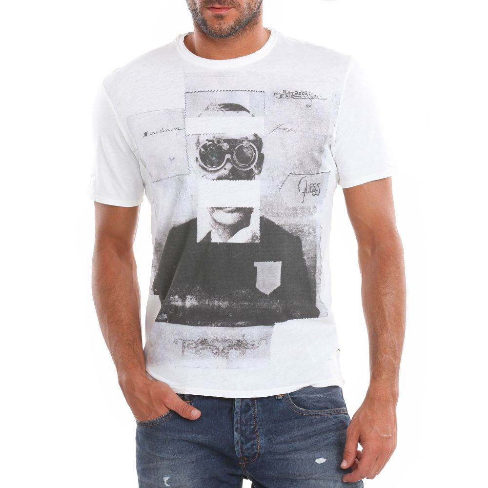 guess man t shirt in white for men lyst. Black Bedroom Furniture Sets. Home Design Ideas
