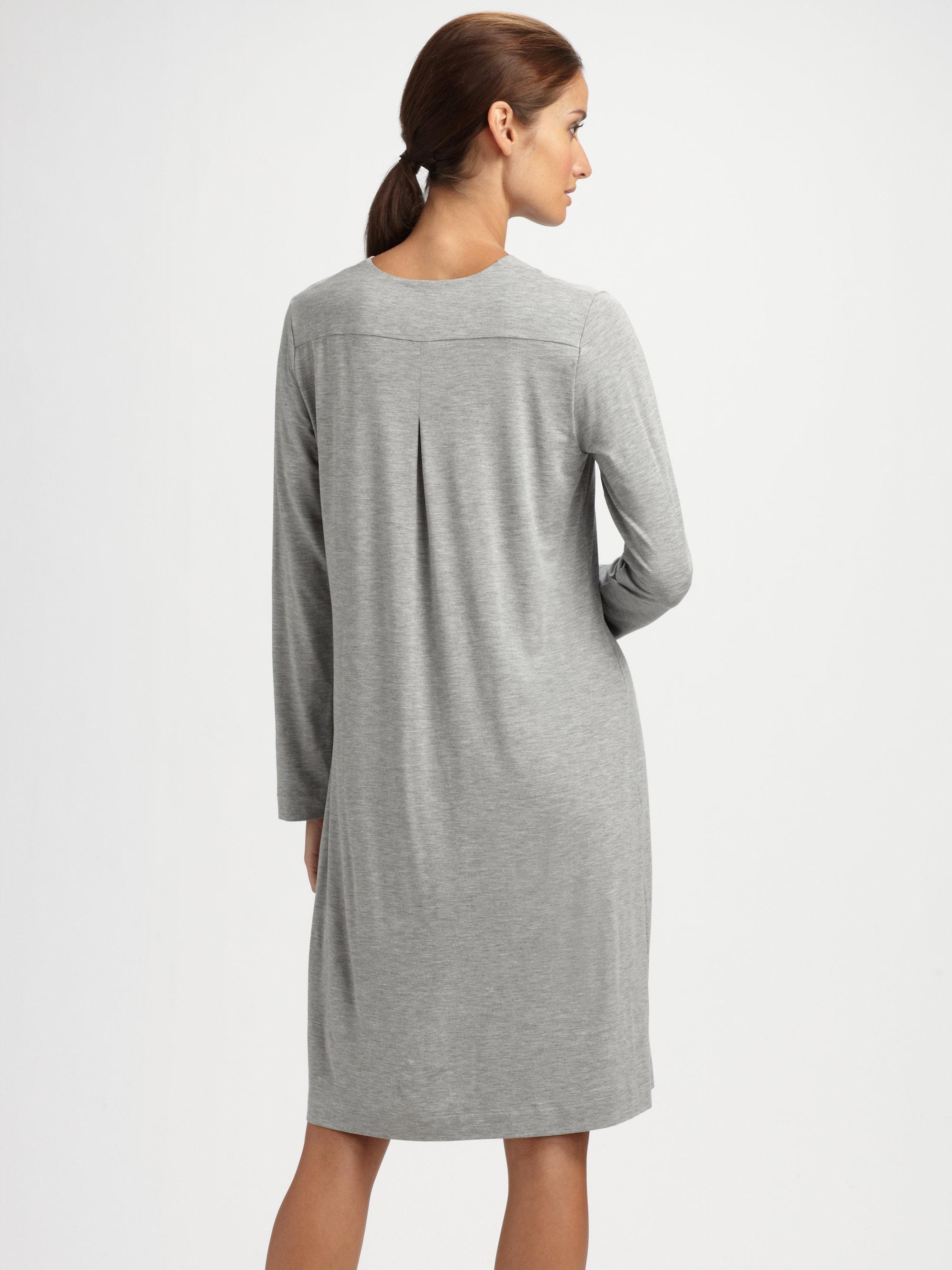 0ef78b2964 Lyst - Hanro Longsleeve Nightgown in Gray
