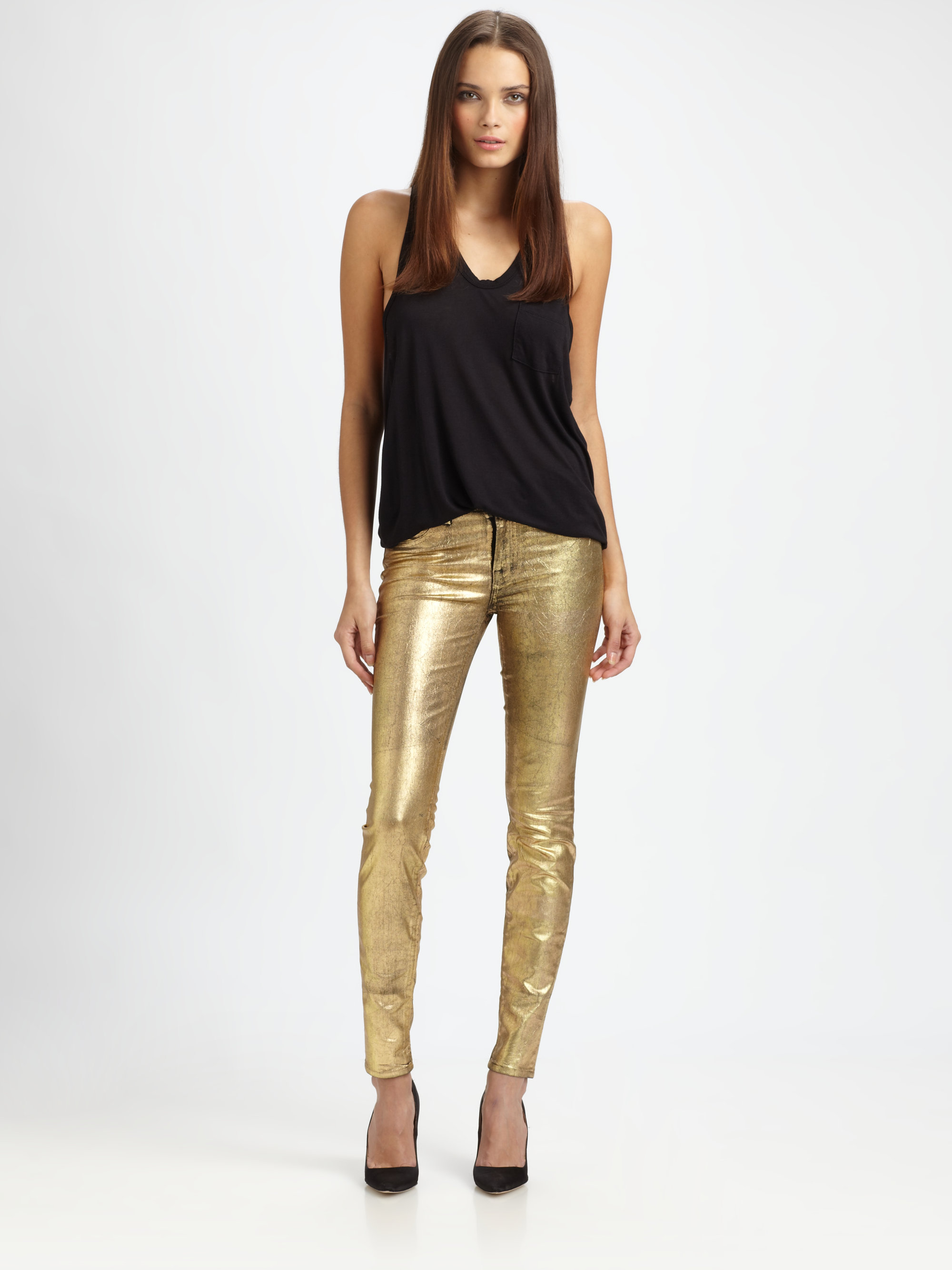 Lyst - J Brand Coated Metallic Midrise Leggings in Metallic