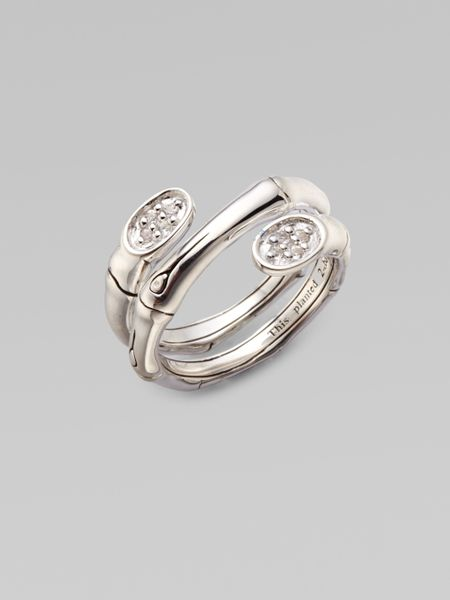 John Hardy White Sapphire Sterling Silver Bamboo Wrap Ring