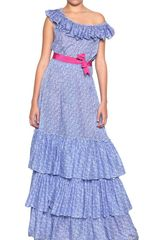 Luisa Beccaria Off Shoulder Overlay Long Dress - Lyst