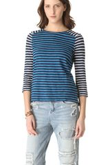 Madewell Stripe Colorblock Mix Indigo Tee - Lyst