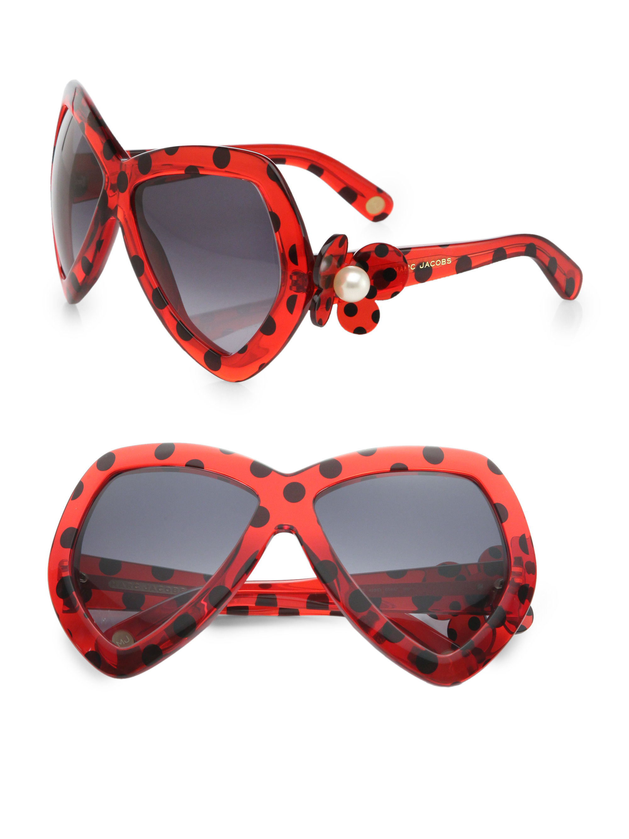 Marc Jacobs Red Sunglasses  marc jacobs dotted plastic erfly sunglasses in red lyst