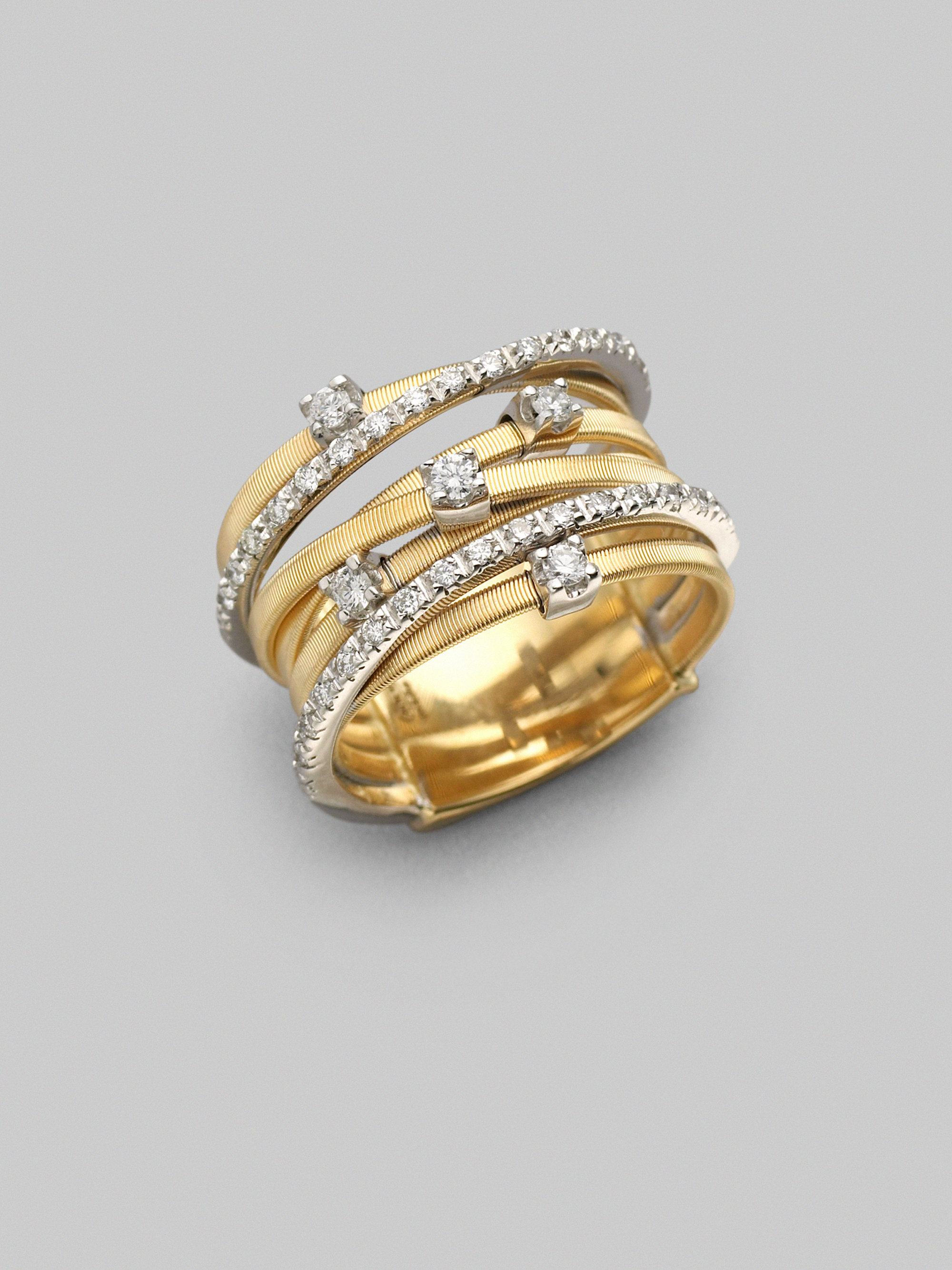 yellow gold and products rose three diamond bands ring toned simon contemporary fashion in g white