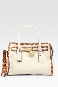 Michael by Michael Kors Hamilton Whipstitched Leather Satchel - Lyst