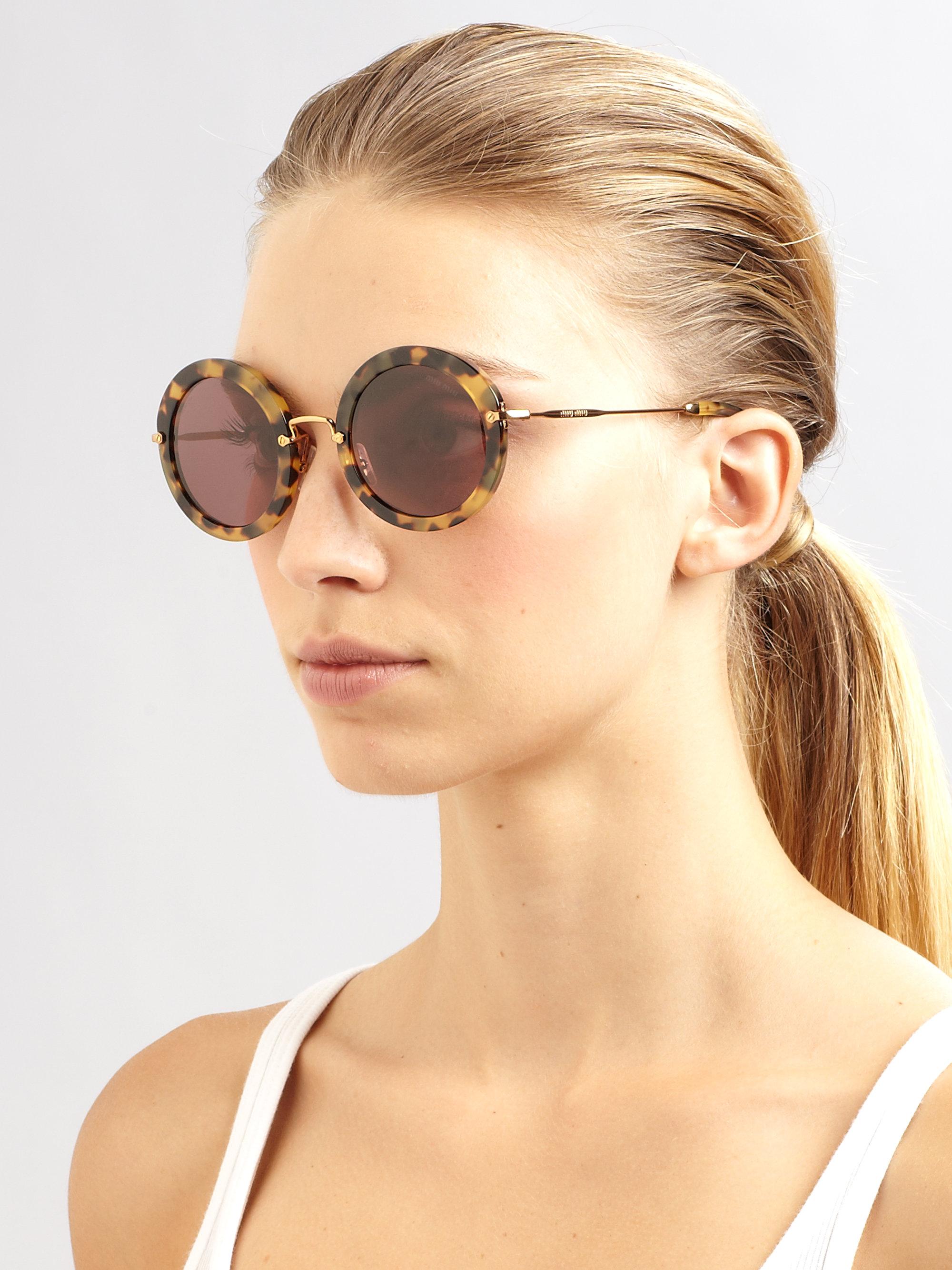 miu miu retro noir round acetate sunglasses in brown lyst