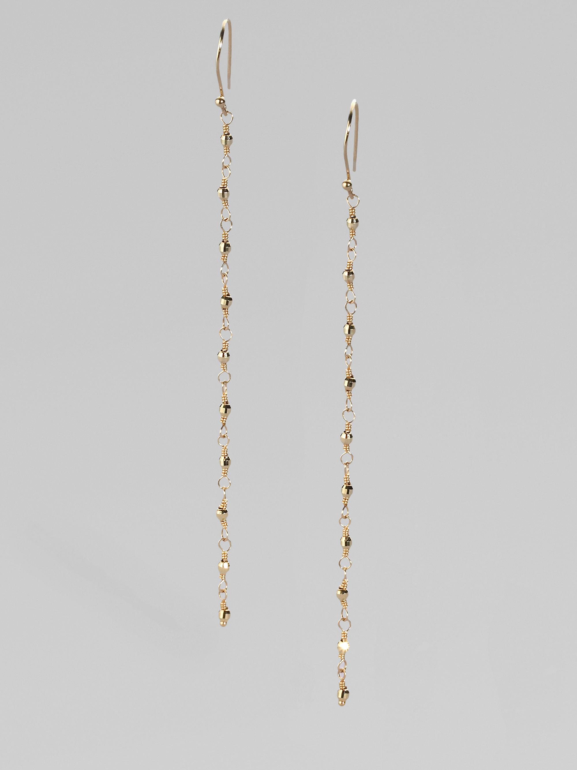 Mizuki 14k Yellow Gold Chain Earrings in Metallic