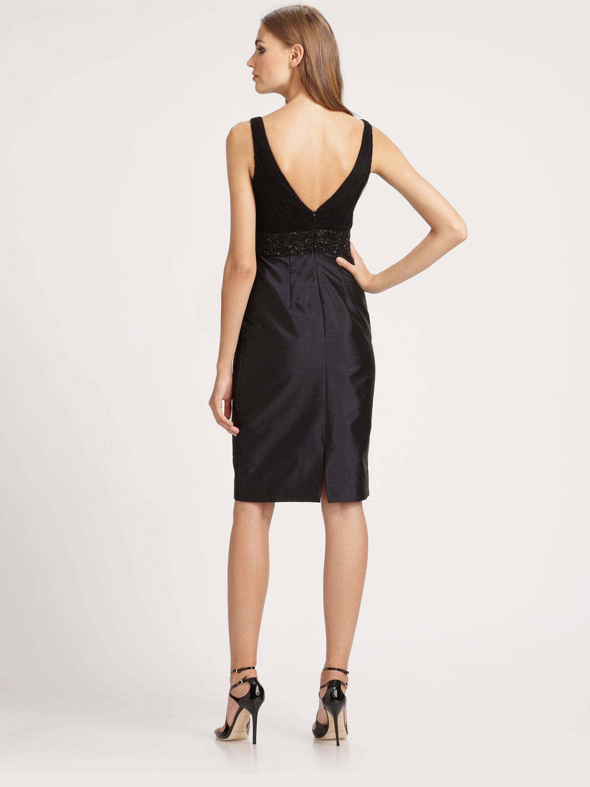 Ml monique lhuillier Beaded Taffeta Cocktail Dress in Black | Lyst