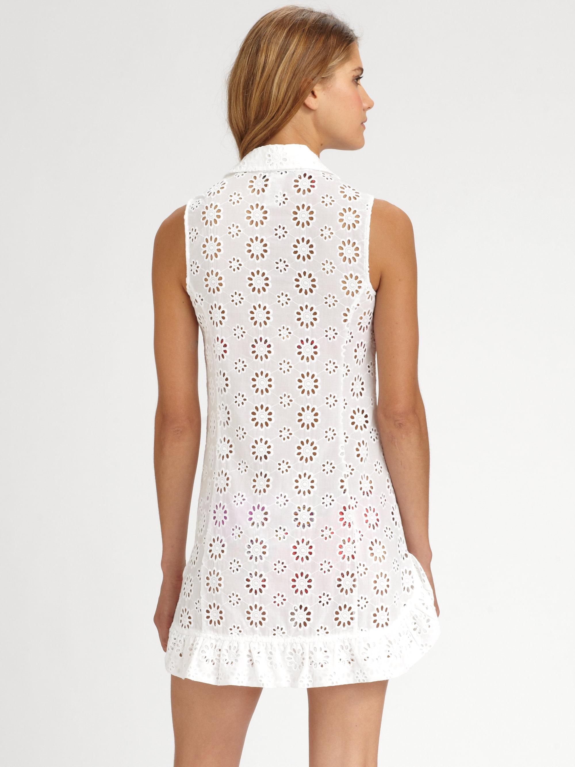 Nanette lepore Cotton Eyelet Tank Dress in White  Lyst