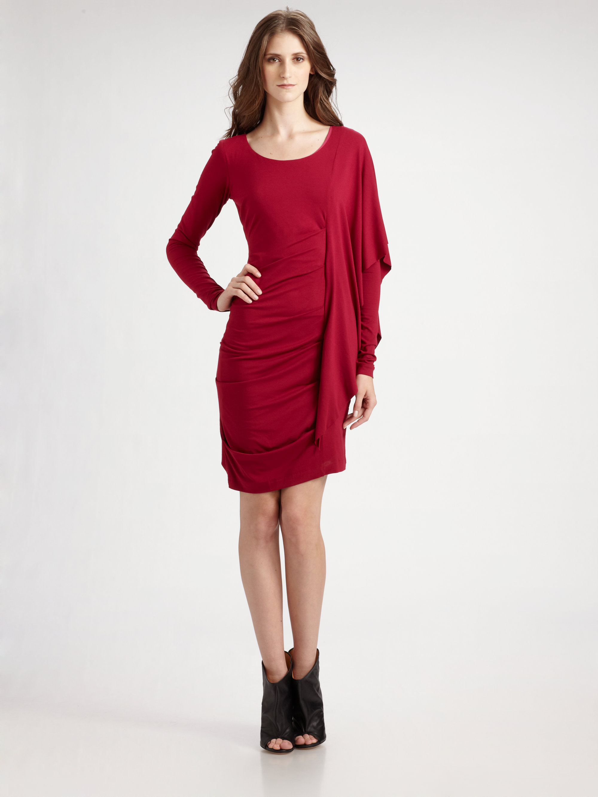 Nicole miller Long Sleeve Side Drape Dress in Red  Lyst