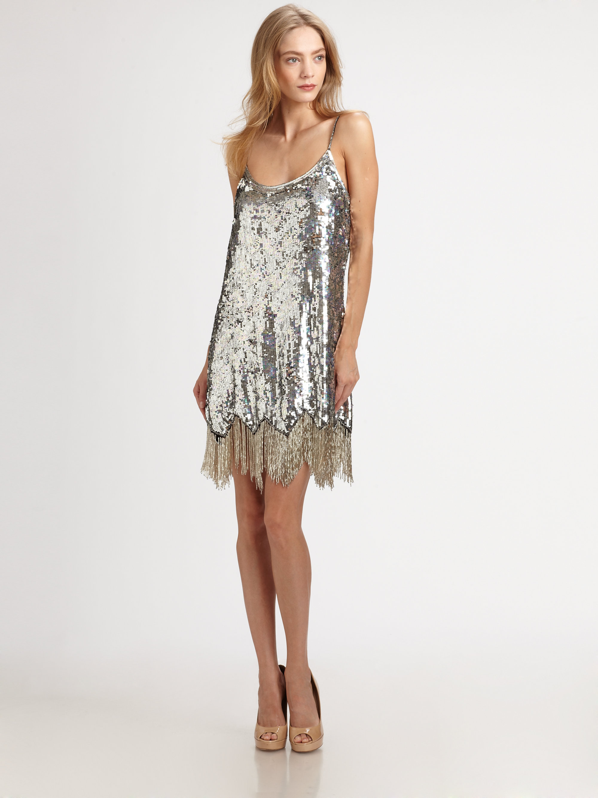 Lyst Parker Sequined Party Dress In Metallic