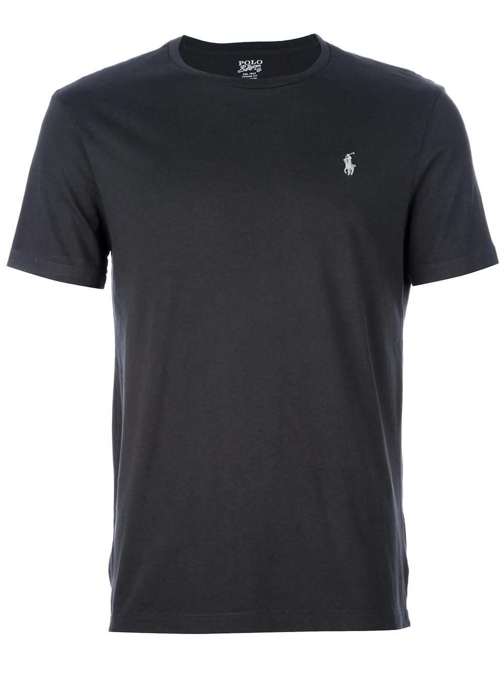 Polo ralph lauren logo t shirt in gray for men grey lyst for Ralph lauren logo shirt