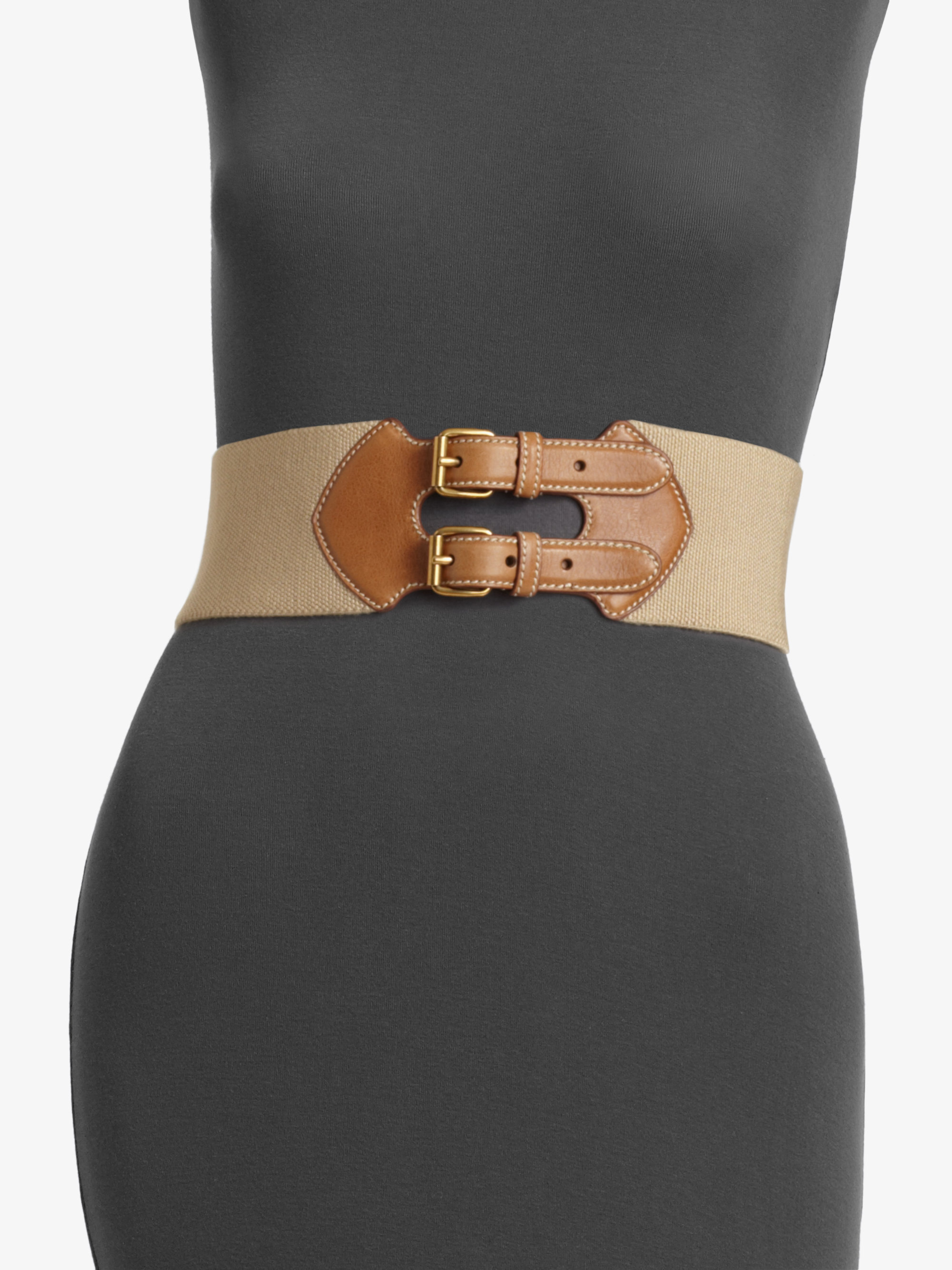 Prada Leather Accented Elastic Belt in Brown | Lyst