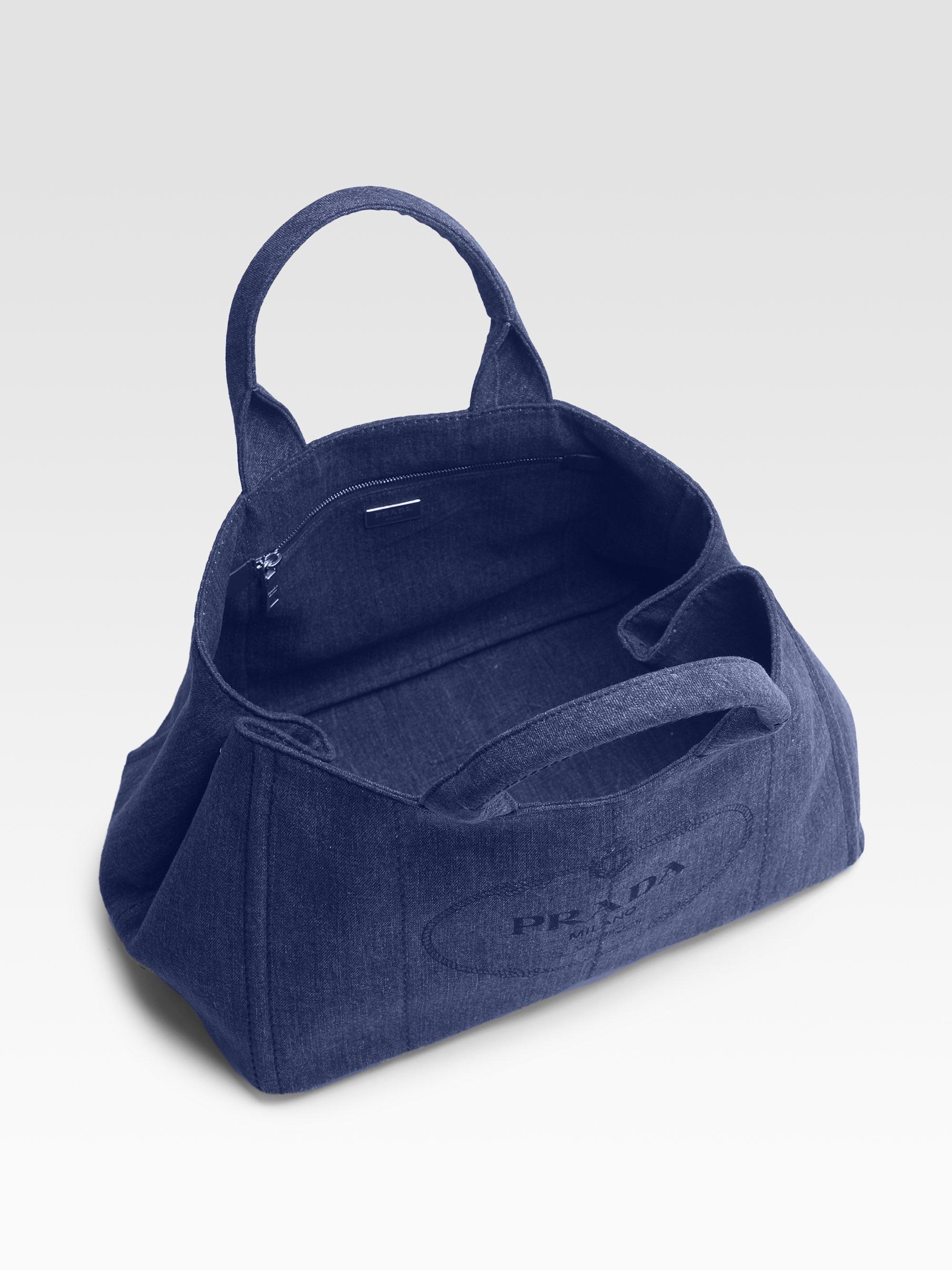 Prada Denim Small Gardeners Tote Bag in Blue (denim) | Lyst