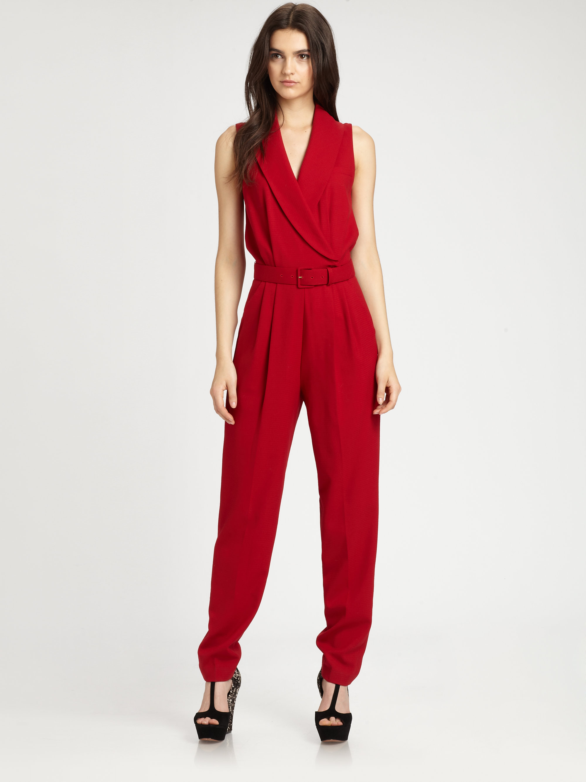 Rachel zoe Wool Suiting Jumpsuit in Red | Lyst