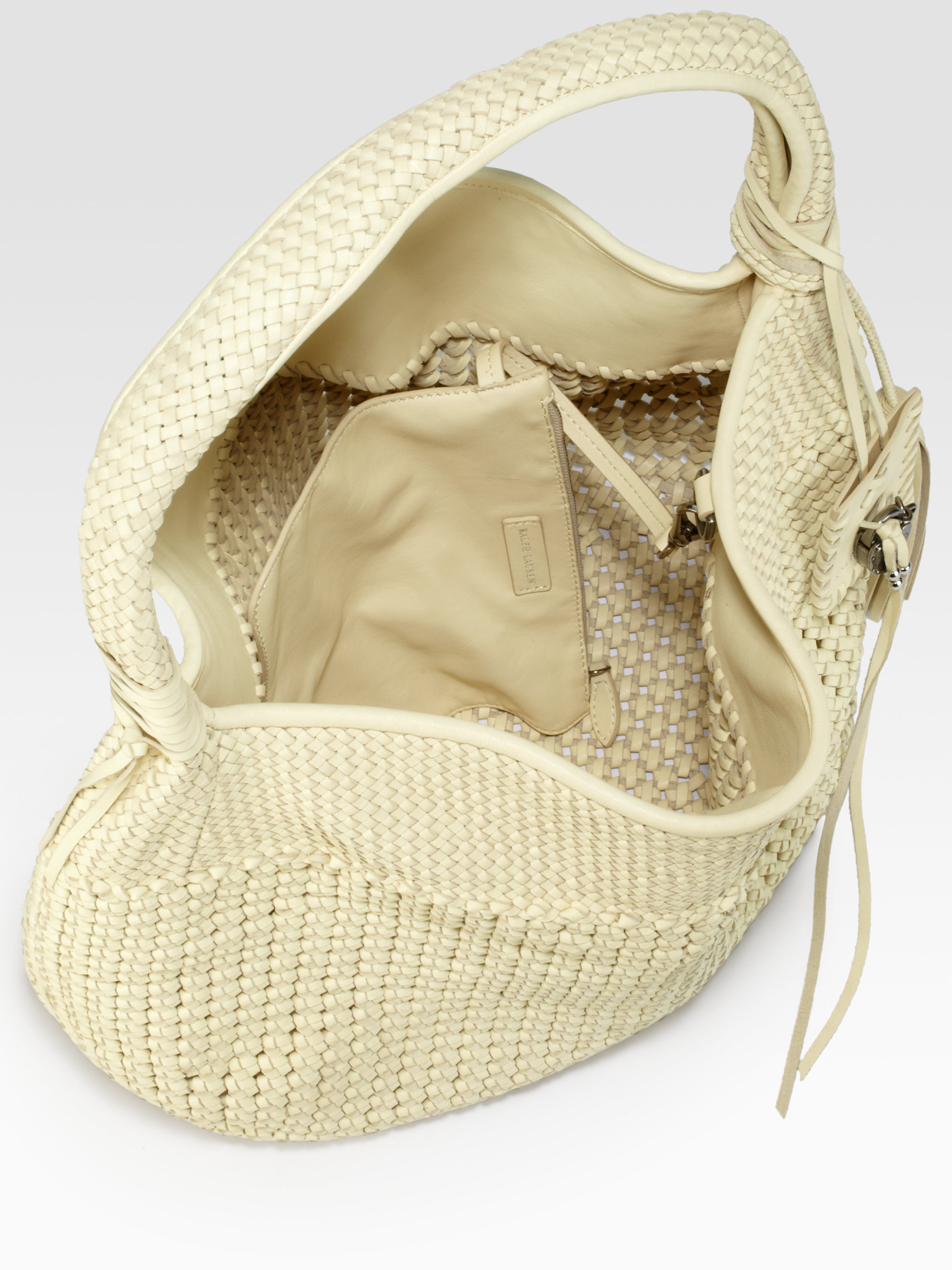 1ac5ffc0a37 Lyst - Ralph Lauren Collection Woven Lace Hobo in Natural
