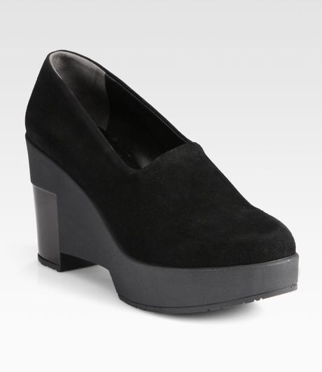 Robert Clergerie Suede and Patent Leather Wedge Pumps in Black - Lyst