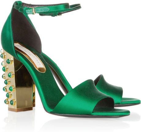 Stella Mccartney Embellished Heel Satin Sandals In Green