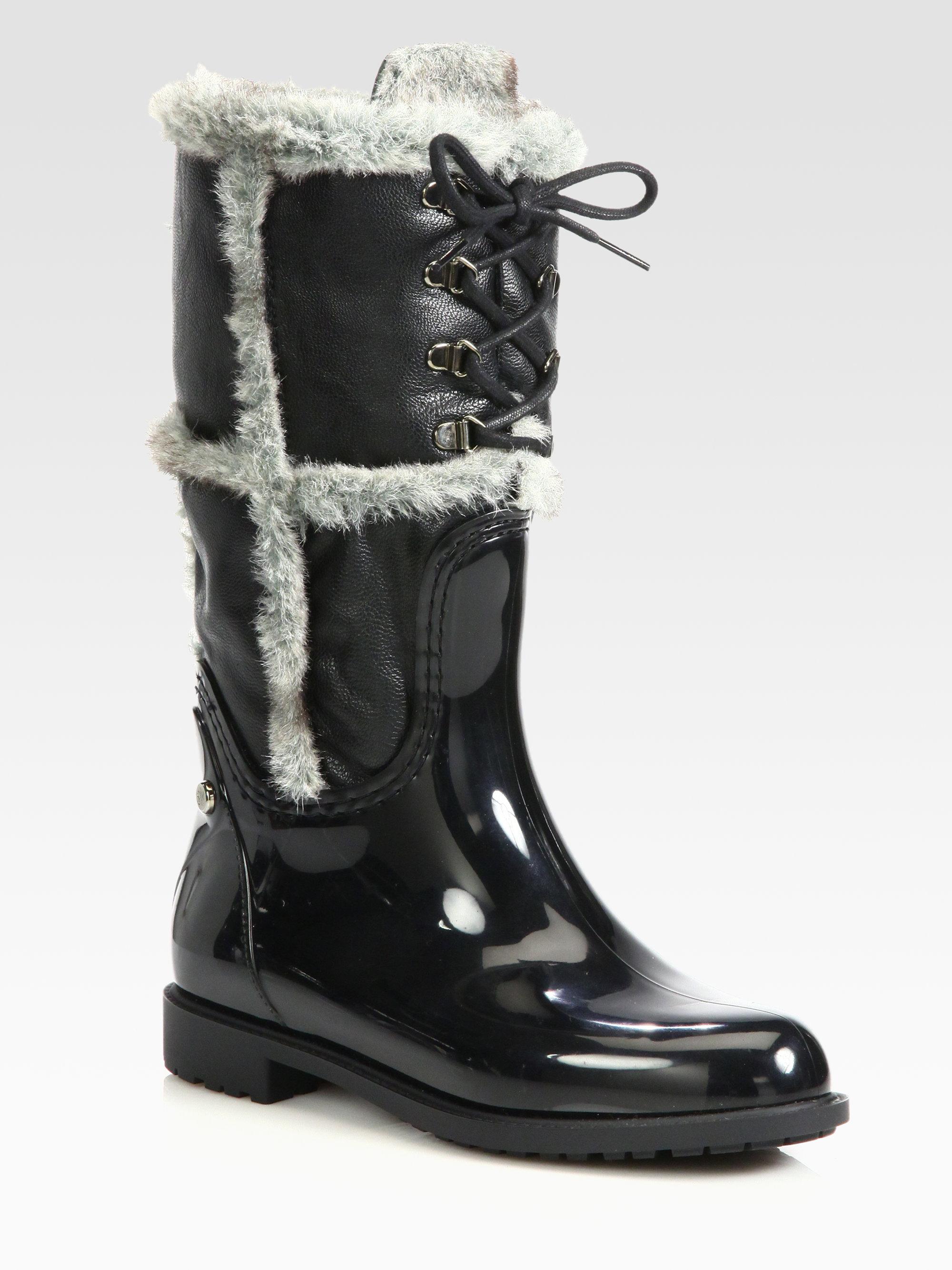 Stuart Weitzman Rebooting Fauxfur Trimmed Rain Boots In