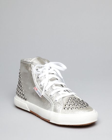 superga lace up high top sneakers lame studded in silver lyst. Black Bedroom Furniture Sets. Home Design Ideas