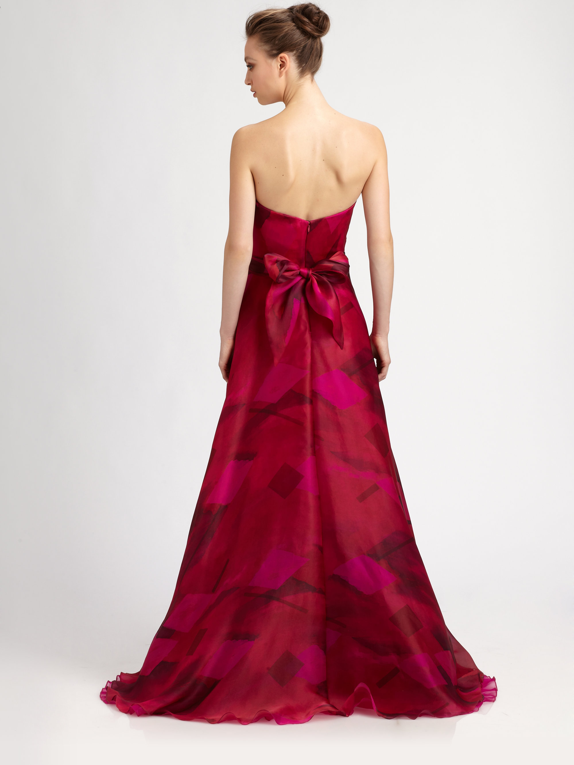 Lyst - Theia Strapless Silk Organza Ball Gown in Red