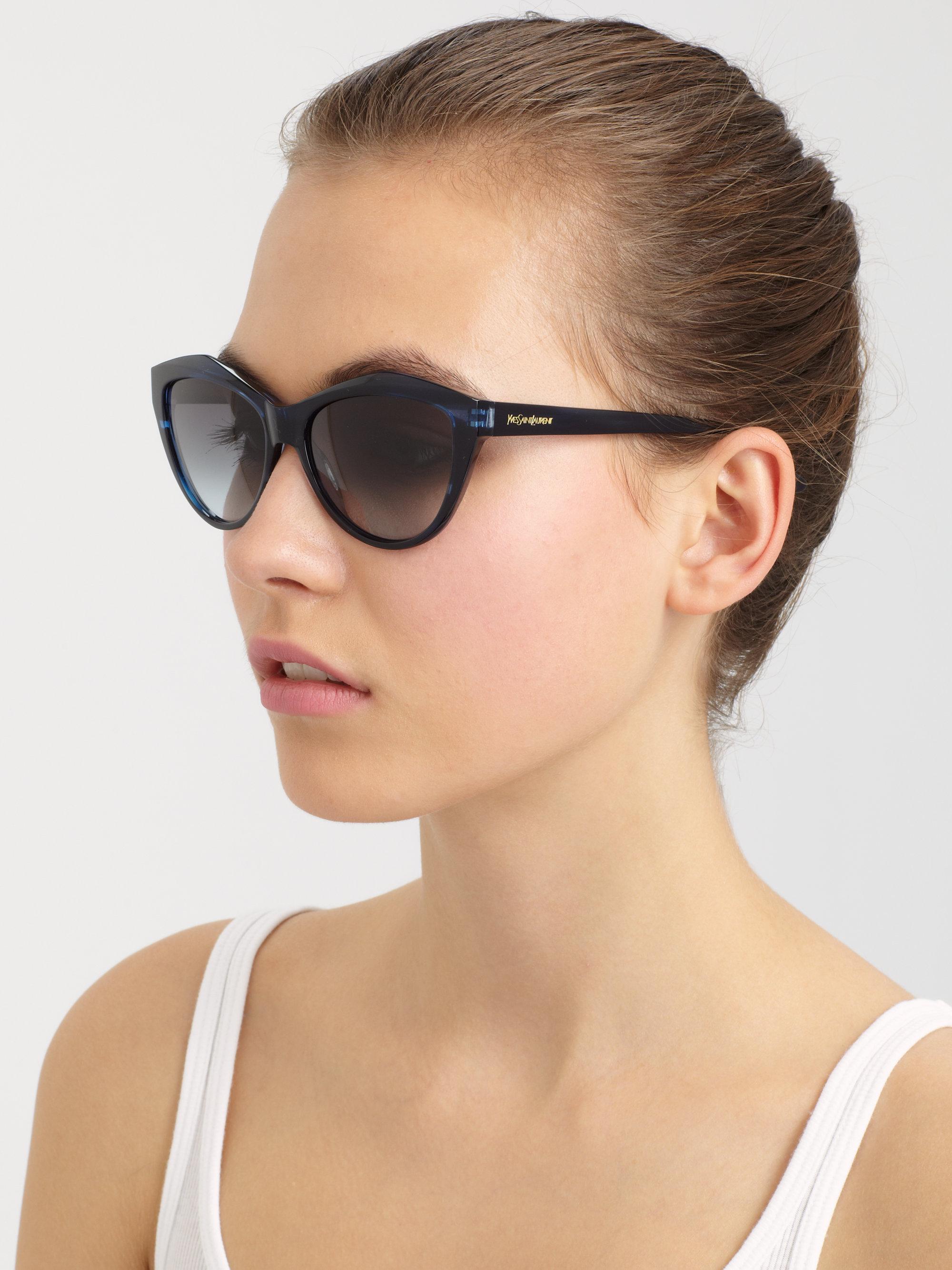 f14efae73513 Saint Laurent Cat's Eye Acetate Sunglasses in Blue - Lyst