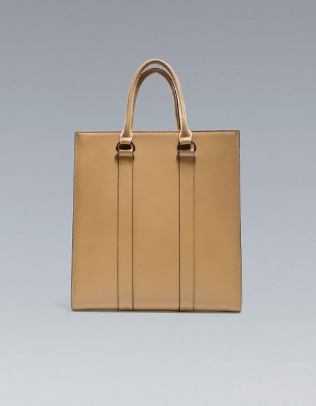 Zara Saffiano Leather Shopper in Beige for Men - Lyst