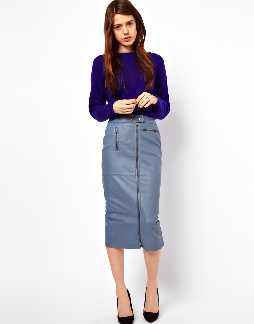 asos collection biker pencil skirt in leather in blue lyst