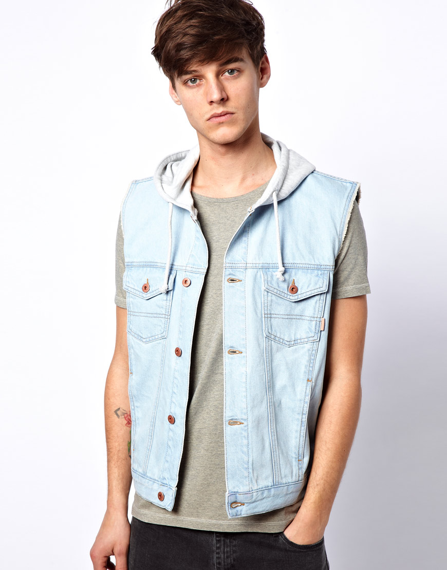 Asos Sleeveless Denim Jacket with Hood in Blue for Men | Lyst