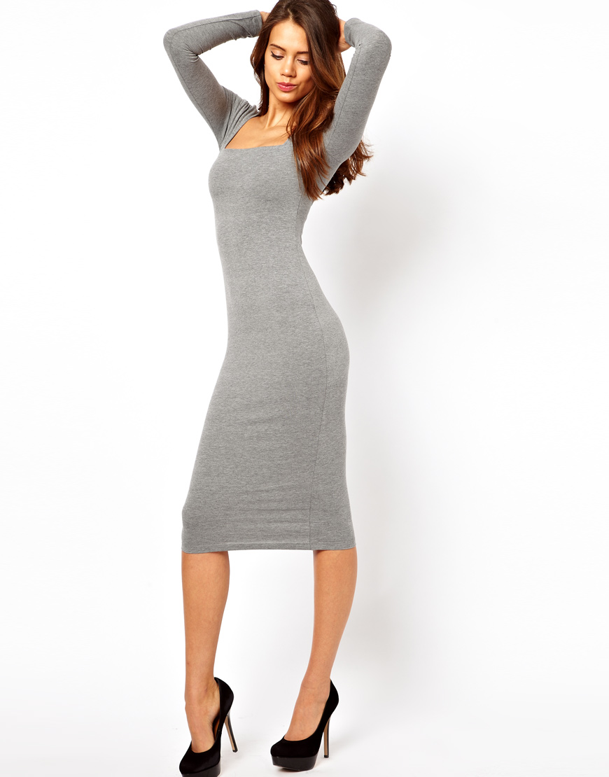 Asos Midi Bodycon Dress With Square Neck And Long Sleeves
