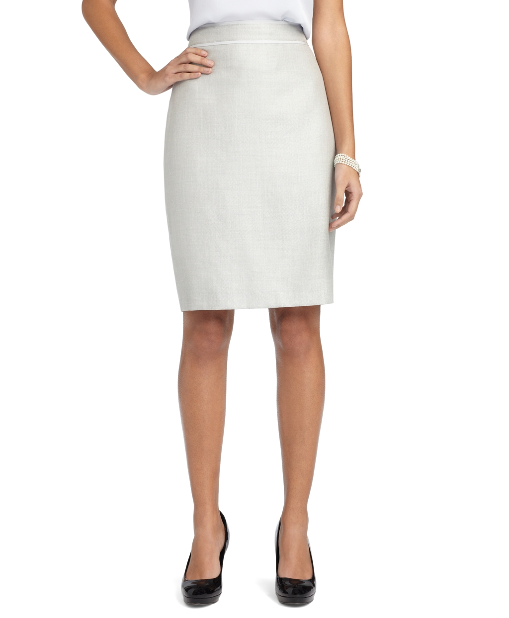 brothers wool silk linen pencil skirt in