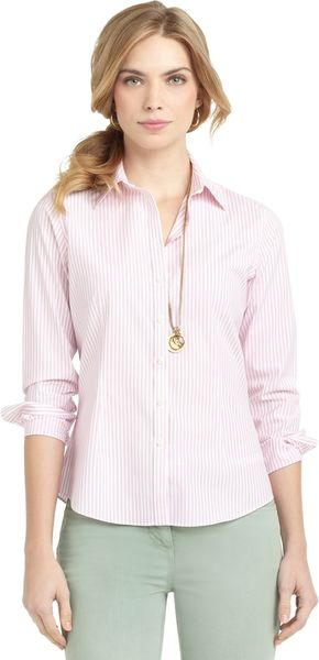 Brooks Brothers Petite Noniron Fitted Double Dash Stripe Dress Shirt - Lyst