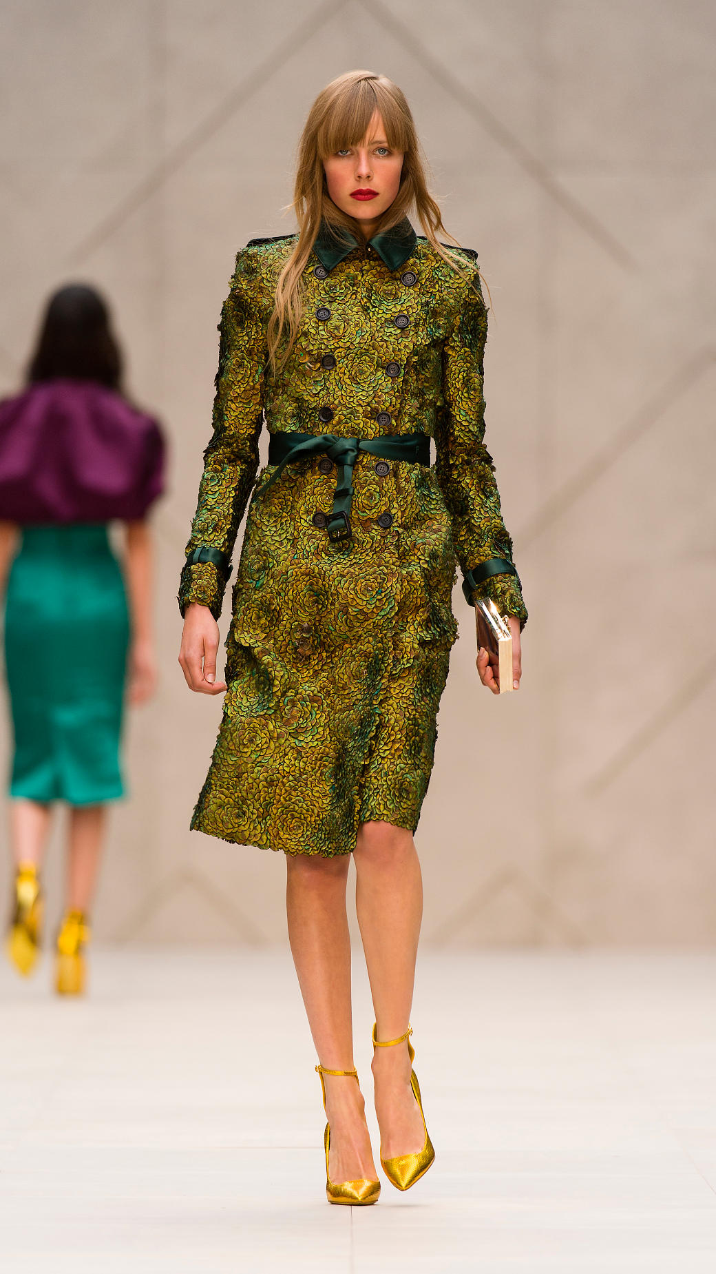 Burberry Prorsum Runway London Fashion Week Aw14: Burberry Prorsum Peacock Feathered Trench Coat In Green