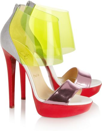 Christian Louboutin Dufoura Metallic leather Pvc and Suede Sandals - Lyst