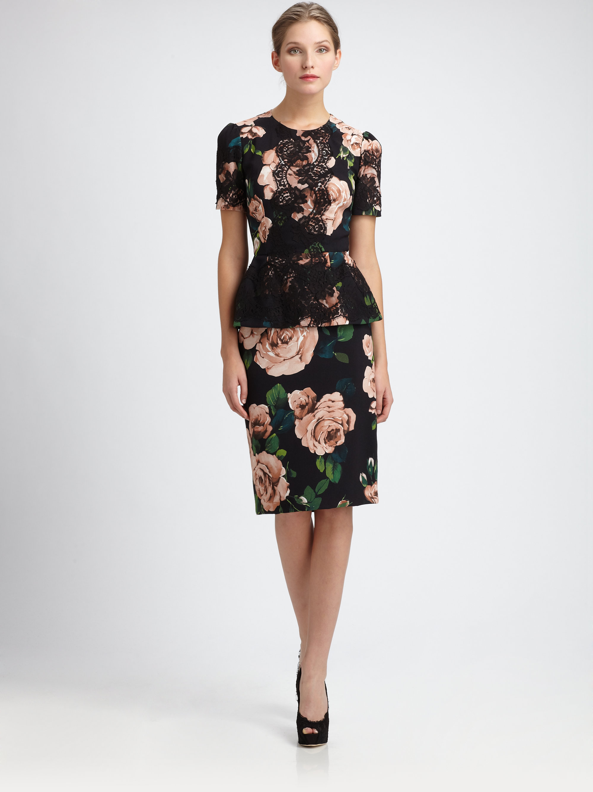 Dolce & gabbana Floral Pencil Skirt | Lyst