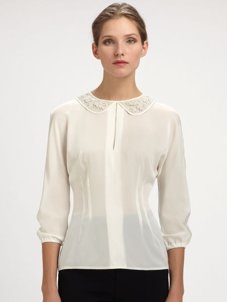 White Lace Blouse With Collar 77